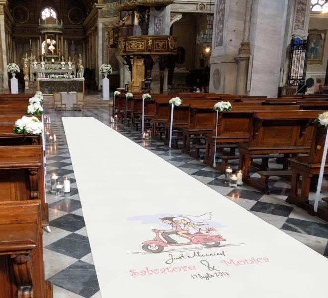 passatoia matrimonio personalizzata in chiesa
