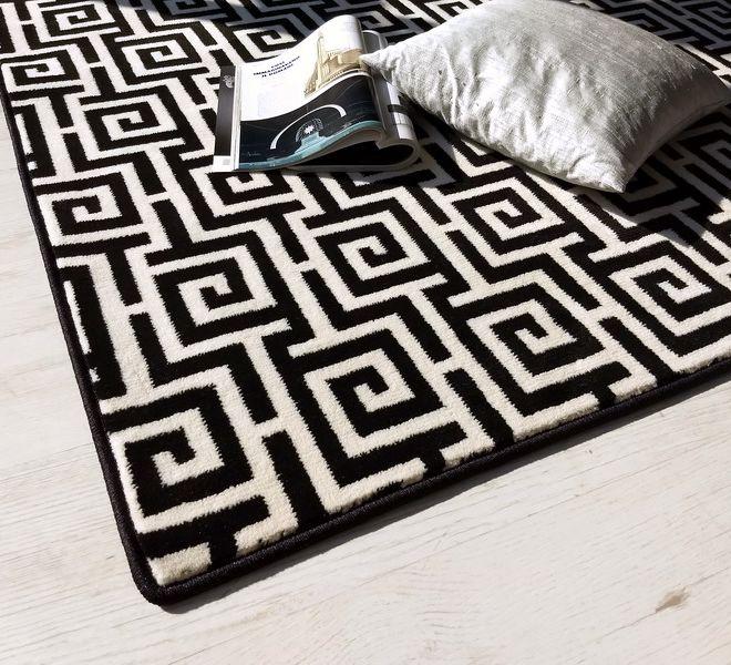 tappeto in velluto disegno bicolore