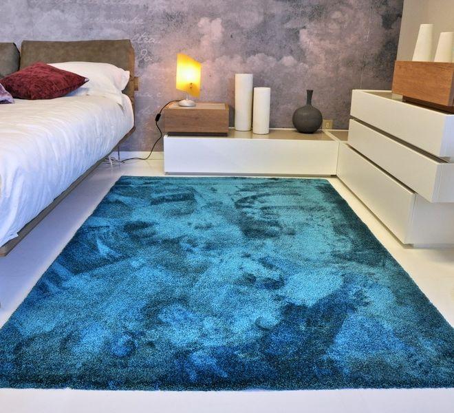 tappeto in velluto blu lavabile in lavatrice