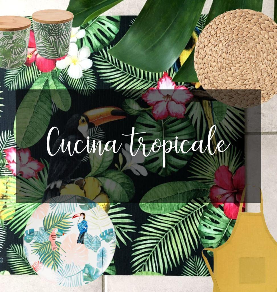 passatoia tropicale abbinata a oggetti da cucina