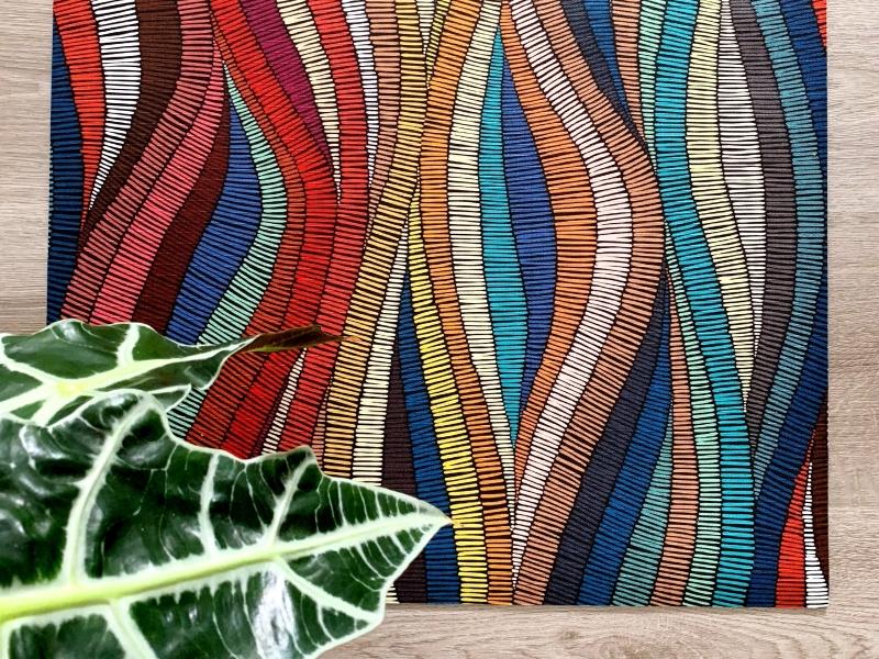 passatoia multicolor con motivo onde